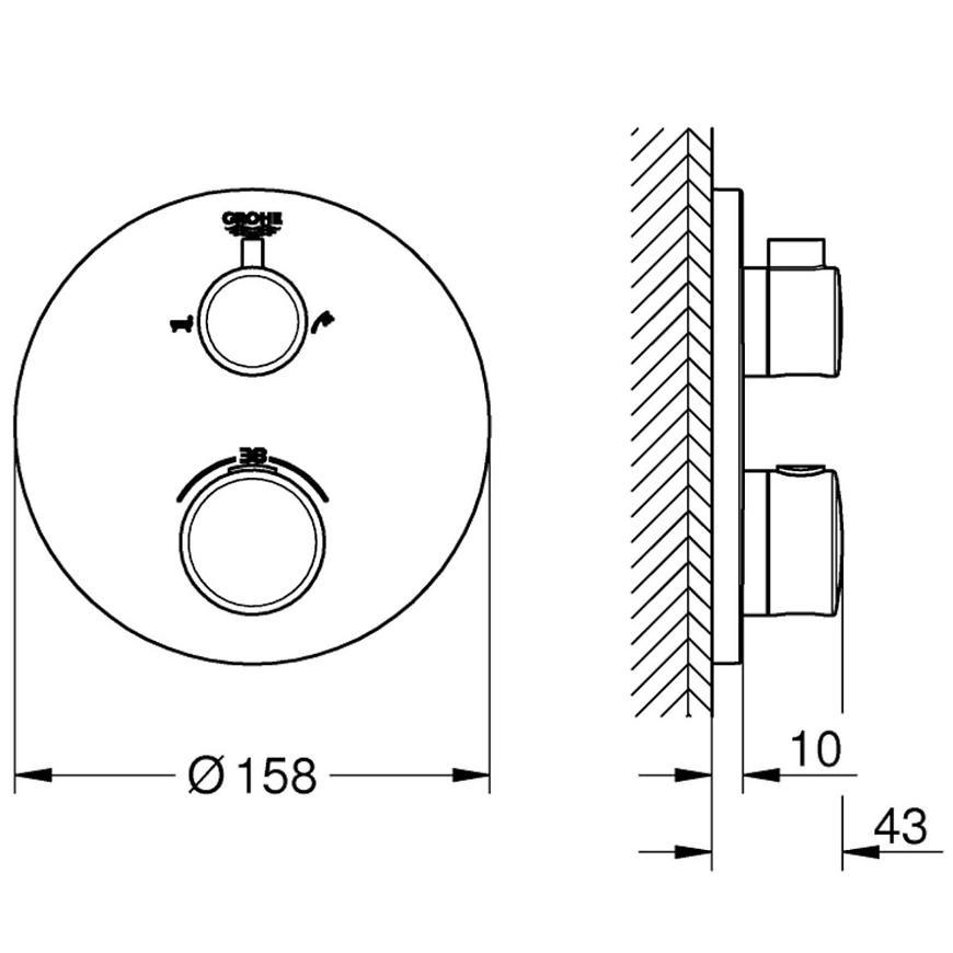 Baterie vanová termostatická podomítková GROHTHERM 24077000