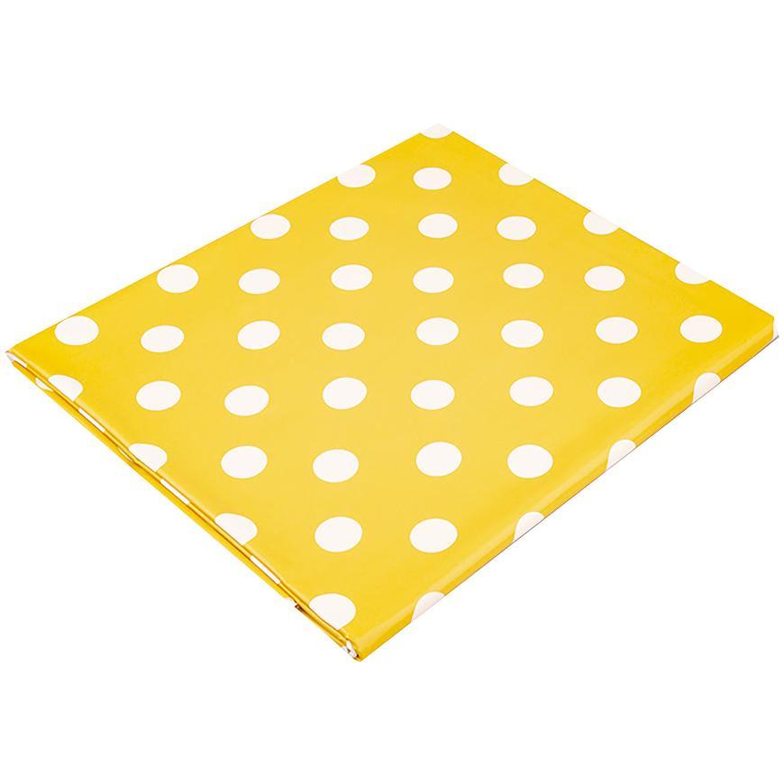 Ubrus PVC 130x170 na plátně žlutá, puntík velký