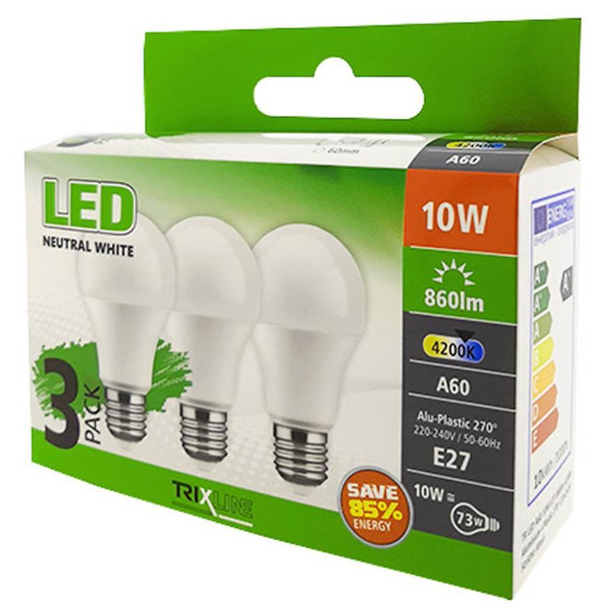 Žárovky LED (3-PACK) A60 10W E27 4200K