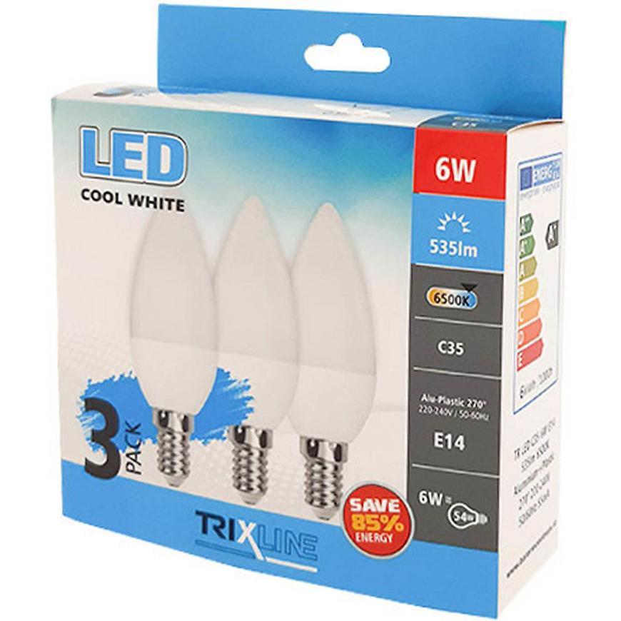 Žárovky LED (3-PACK) C35 6W E14 6500K