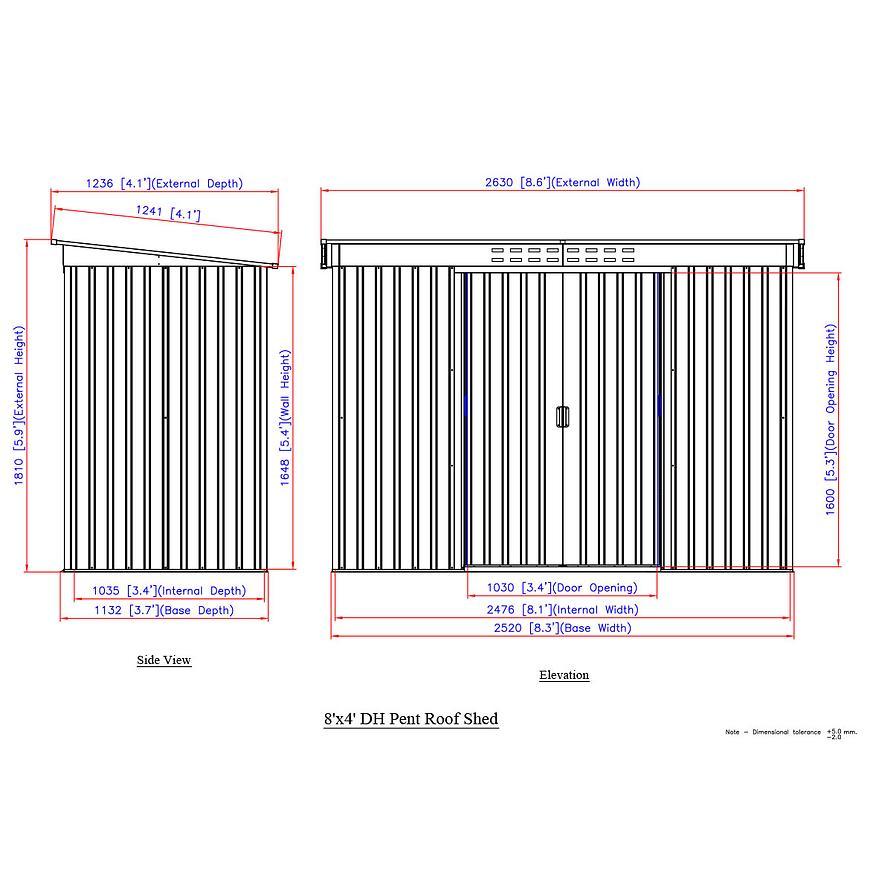 Kovový zahradní domek roz. 1236x2630x1810 hnědý