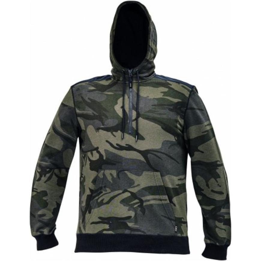 Crambe mikina s kapucí camouflage M