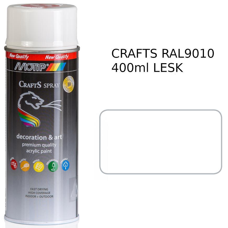 Sprej Crafts bílá polomat RAL9010 400ml