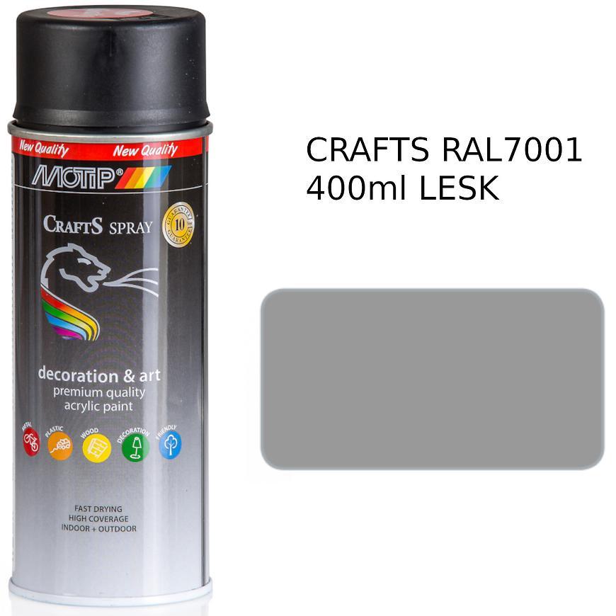 Sprej Crafts stříbrný šedý RAL7001 400ml