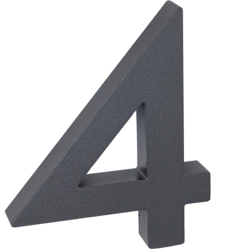 Hliníkové číslo 3D Antracit matný 4  RN.100LV