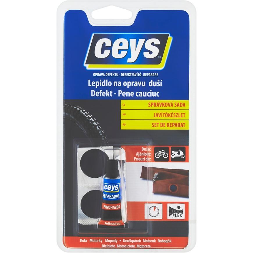 Lepidlo Ceys Oprava defektu na opravu duší správková sada 5 ml + 4 záplaty