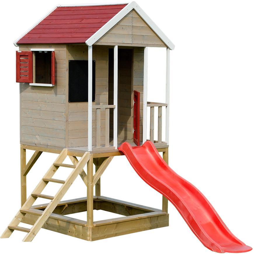 Dřevěný dětský domeček Veranda 280 cm se skluzavkou