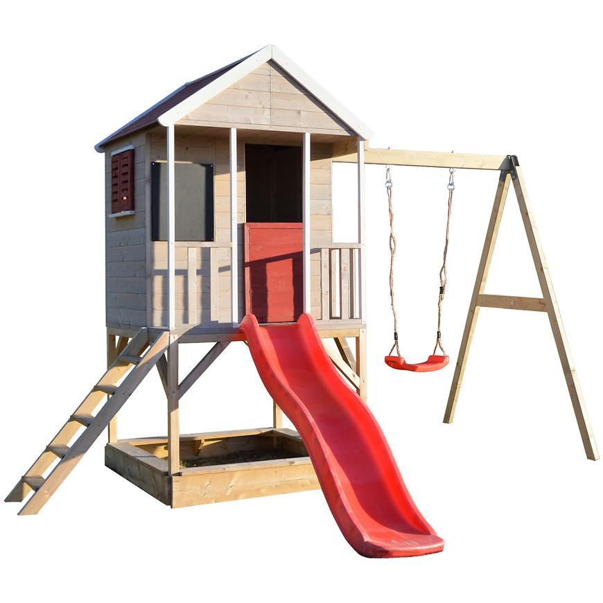 Dřevěný dětský domeček Veranda 350 cm s houpačkou