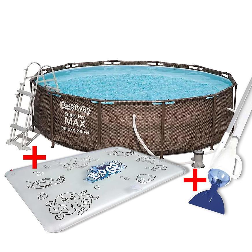 Sada bazén s příslušenstvím 3,66x1m rattan 56709 + vodní podložka pro kreslení 52223 + vodní podložka pro kres