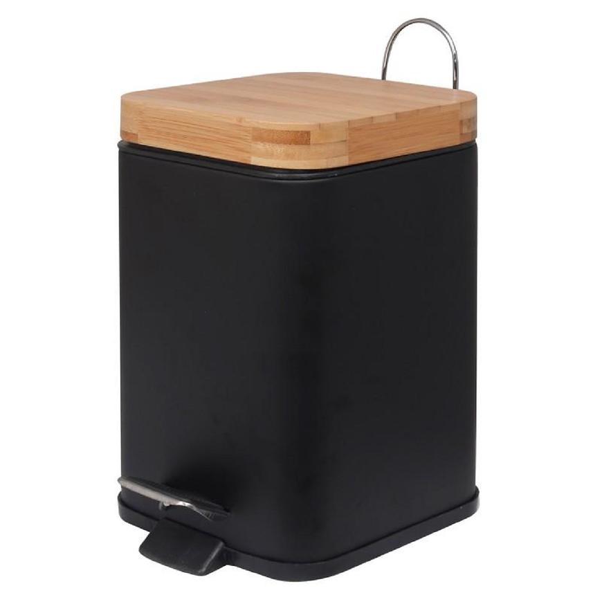 Odpadkový koš černý bambus tverec Sido-Blk