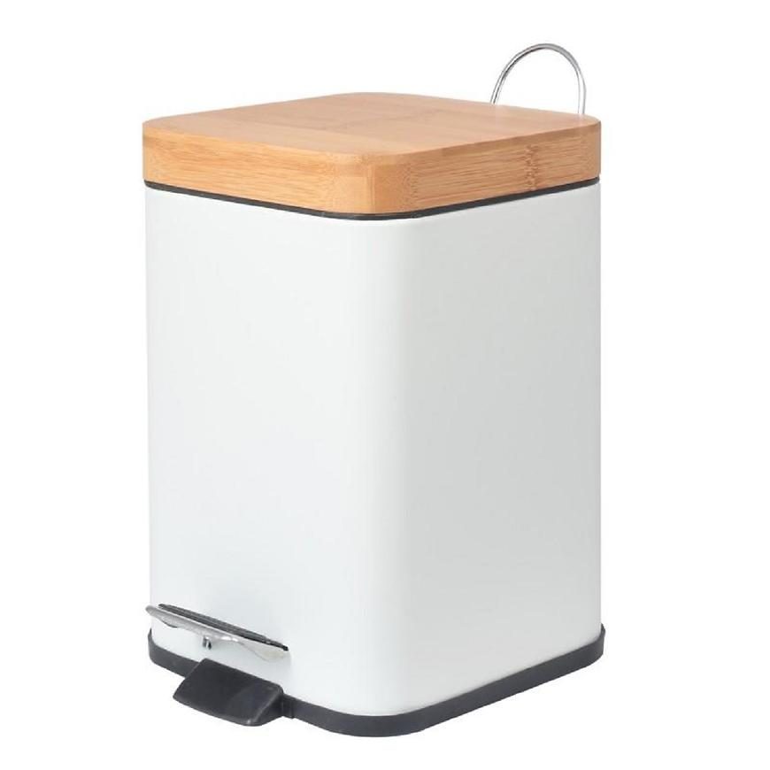 Odpadkový koš bílý bambus tverec Sido-Wht