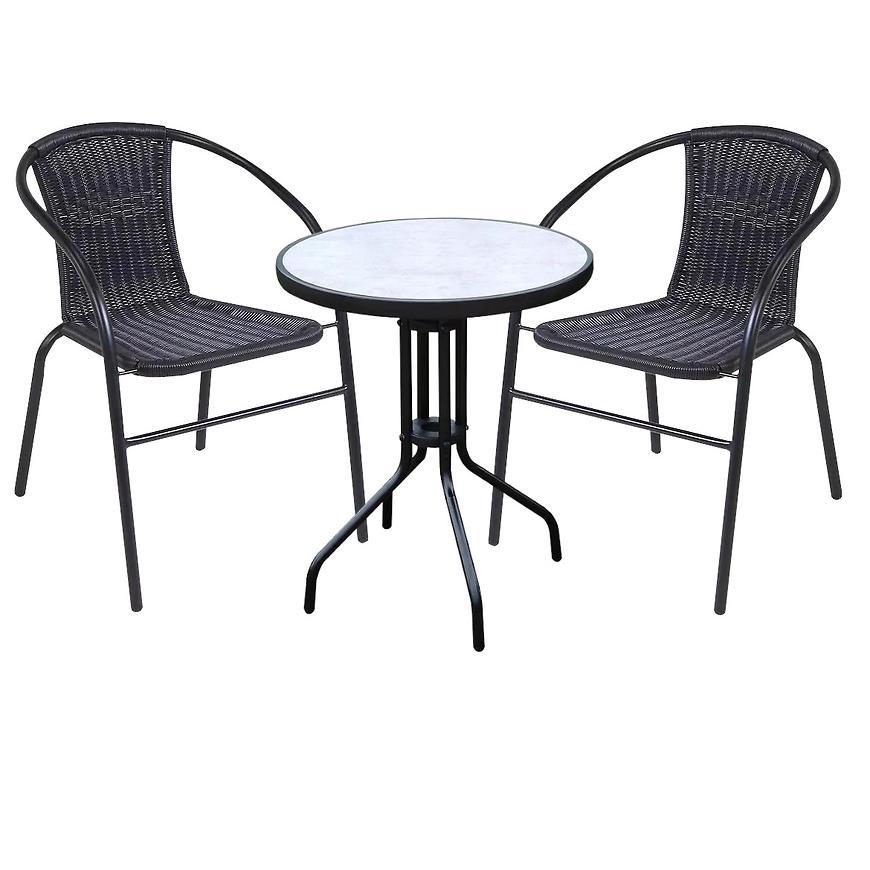 Zahradní set, stůl imitace betonu a 2 černé židle z technoratanu