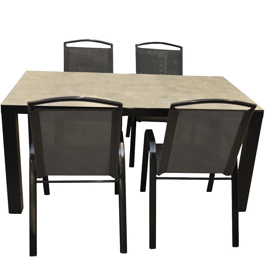 Zahradní set Finn keramický stůl + 4 šedých židlí