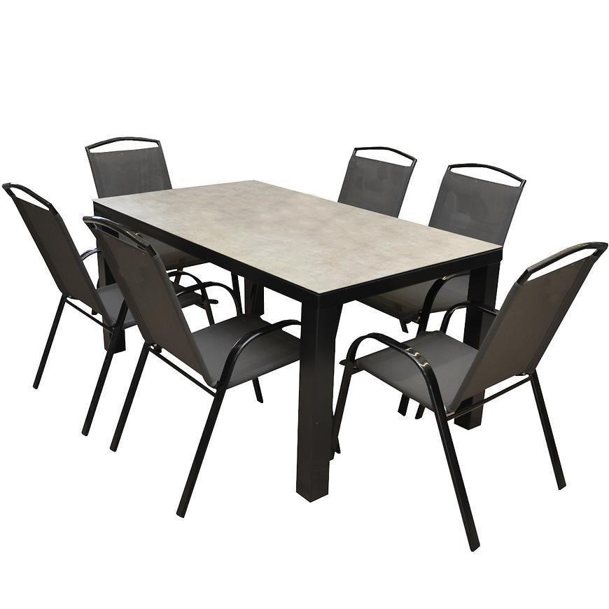 Zahradní set Finn keramický stůl + 6 šedých židlí
