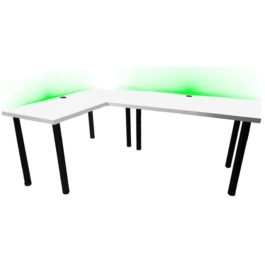 Psací Stůl Rohovy Pro Hráča 136cm Model 2 Bily Nízký
