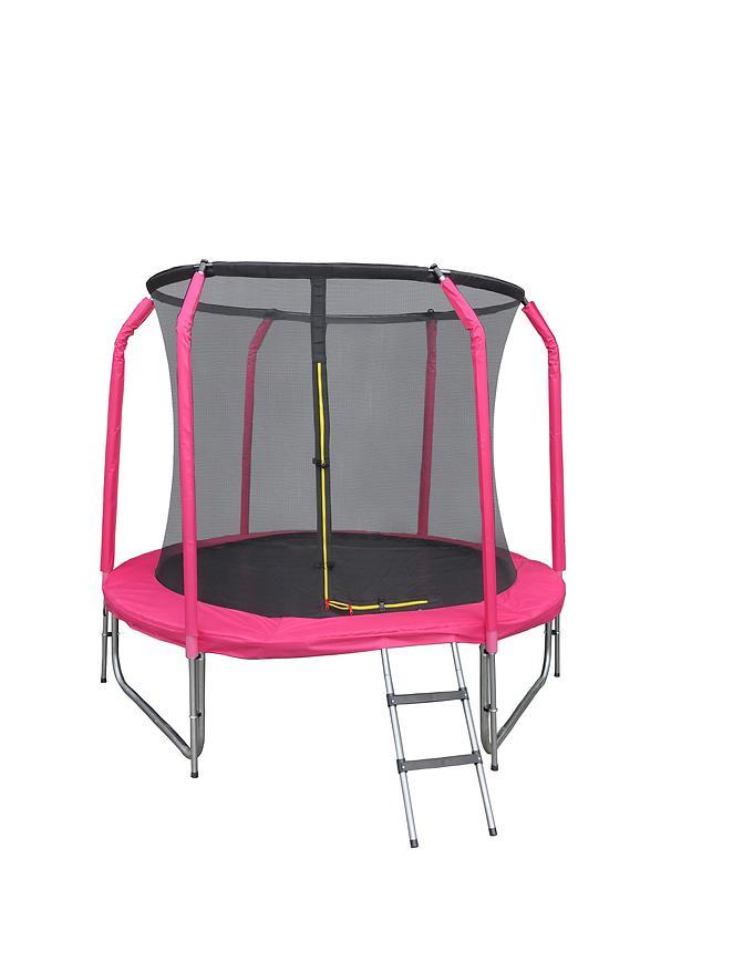 Trampolína s žebříkem 244cm růžový