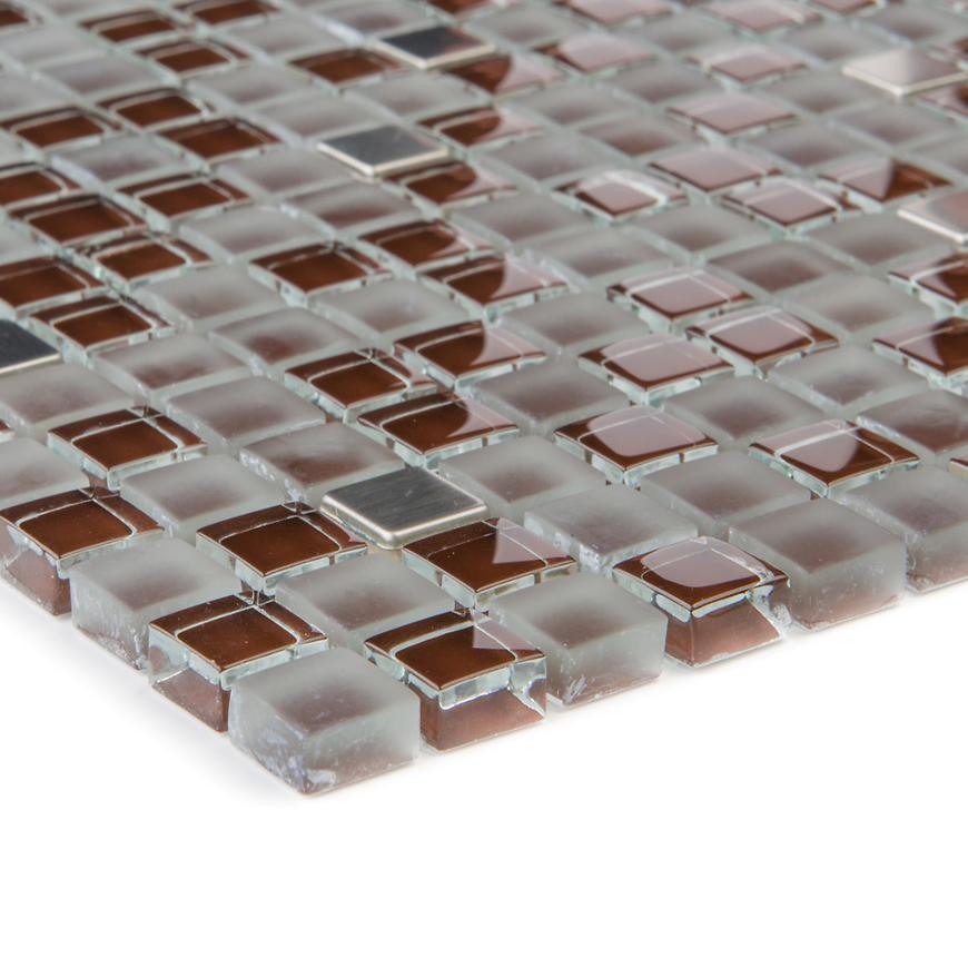 Mozaika glas braun/edelstahl 47871 30,5x30,5x0,8