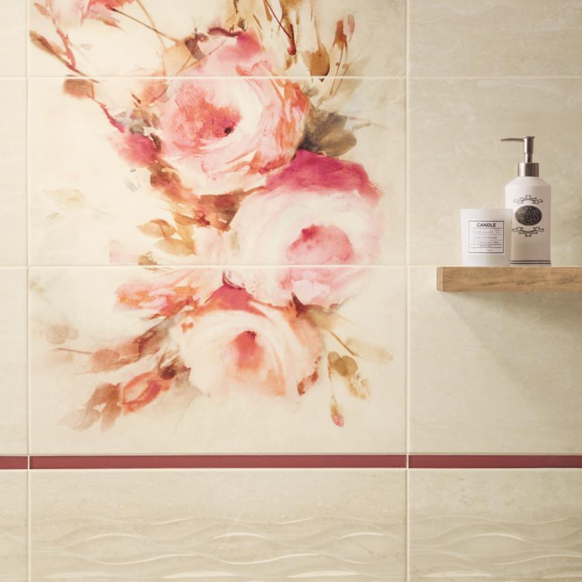 Dekor Coraline panel - růže 3X30/60